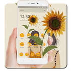 Beauty Yellow Sunflower Girl Wallpaper Theme