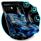 Blue Neon Sports Car APUS Launcher Theme APK