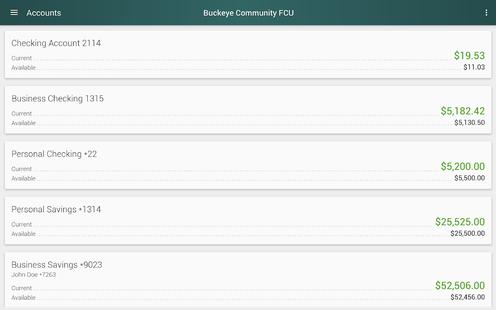 Screenshots - Buckeye Community FCU Mobile
