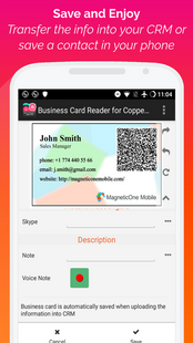 Screenshots - Copper CRM Business Card Reader