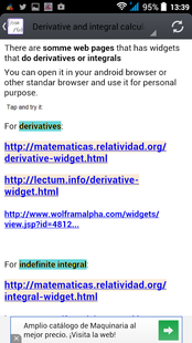 Screenshots - Derivative and Integral EVA