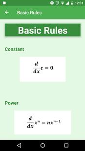 Screenshots - Derivative - Integral Formulas