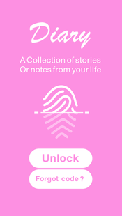Screenshots - diary with a fingerprint lock
