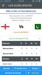 Screenshots - Eng vs Pak Live Score 2020 - Test Match Scorecard