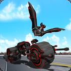 Flying Superhero Robot Transform Bike City Battle