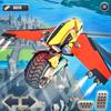 Futuristic Flying Motorbike Rider Driving