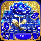 Gold Blue Rose Crystal Keyboard Theme
