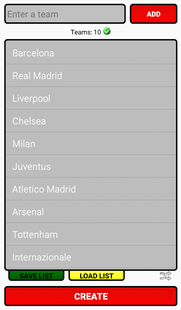 Screenshots - League Table Creator