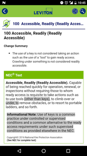 Screenshots - Leviton Captain Code 2017 NEC Guide