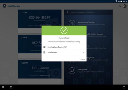 Screenshots - MCB Mobile Banking Bonaire