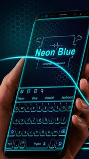 Screenshots - Neon Blue Cheetah Keyboard Theme