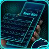 Neon Blue Cheetah Keyboard Theme