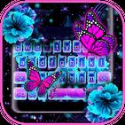 Neon Flower Butterfly Keyboard Theme