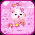 Pink Flowers Kitten Keyboard Theme
