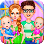 Pregnant Mom and Newborn Twins Maternity Care Game
