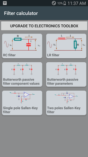 Screenshots - Pro Filter calculator- RC, RL, RLC & active filter
