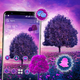 Purple Tree Flowers Launcher Theme