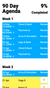 Screenshots - SigmaX : P90X Workout Tracker!