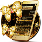 SMS Gold Butterfly Shining Keyboard Theme