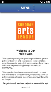 Screenshots - Sonoran Arts League Mobile App