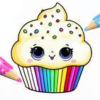 Surprise Kawaii Cupcake Coloring Pages Glitter