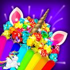 Pembuat popcorn Unicorn Makanan pelangi gila