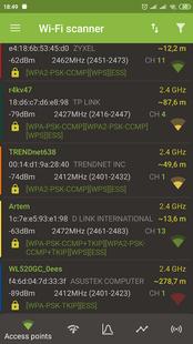 Screenshots - WiFi scanner