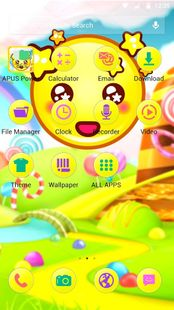 Screenshots - Yellow Cute Emoji APUS Launcher theme